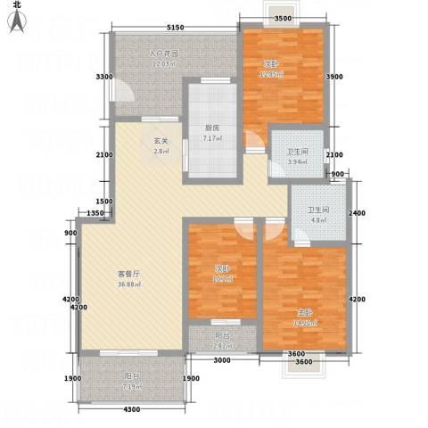诚丰怡园3室1厅2卫1厨161.00㎡户型图