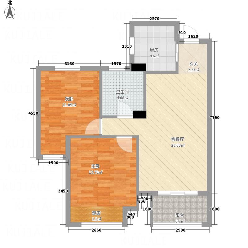吕梁水岸颐园7.20㎡户型2室2厅1卫1厨