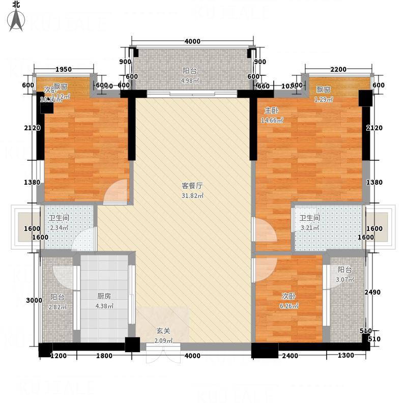 宏达广场11.00㎡A栋03户型3室2厅2卫1厨