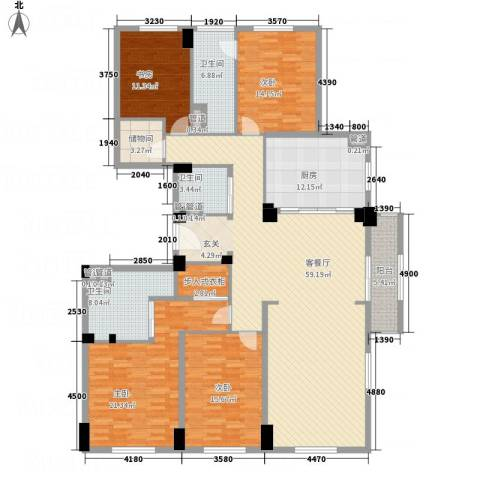 绿城玉兰花园・御园4室1厅3卫1厨234.00㎡户型图