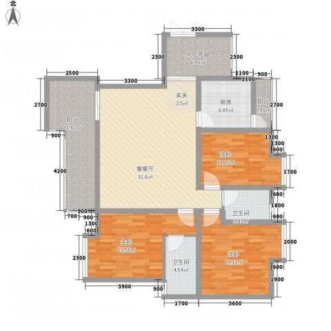 怡景国际3室1厅2卫1厨103.11㎡户型图