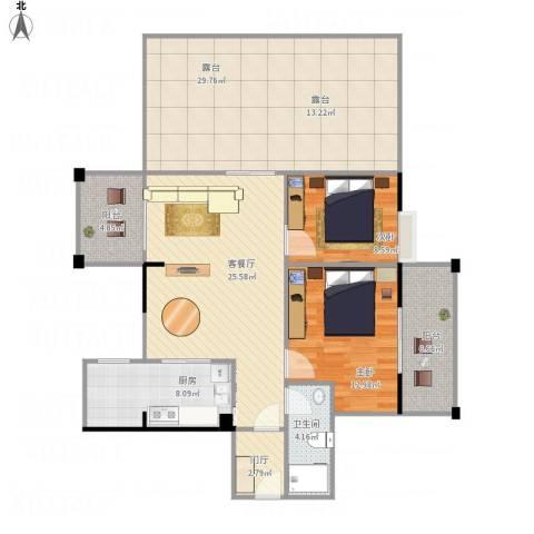 五指山澜湖岸边度假小区2室1厅1卫1厨111.28㎡户型图