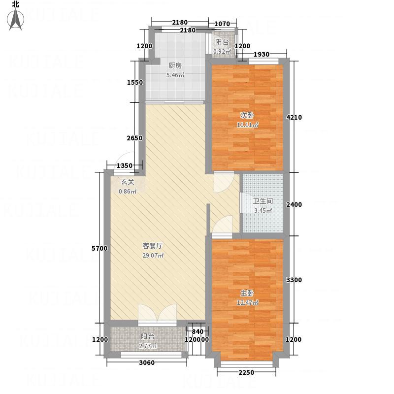 亿居新城果岭郡82.60㎡221-826户型2室2厅1卫1厨