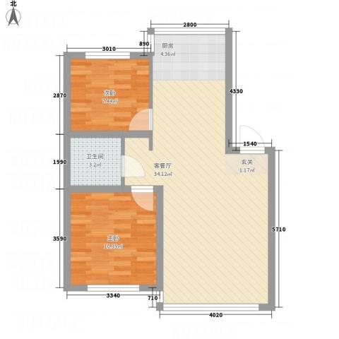 金河湾2室1厅1卫0厨78.00㎡户型图