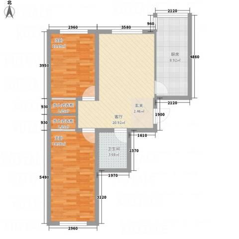 金河湾2室1厅1卫1厨88.00㎡户型图