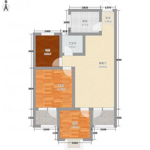 八里庄・盛世华园3室1厅1卫1厨61.18㎡户型图