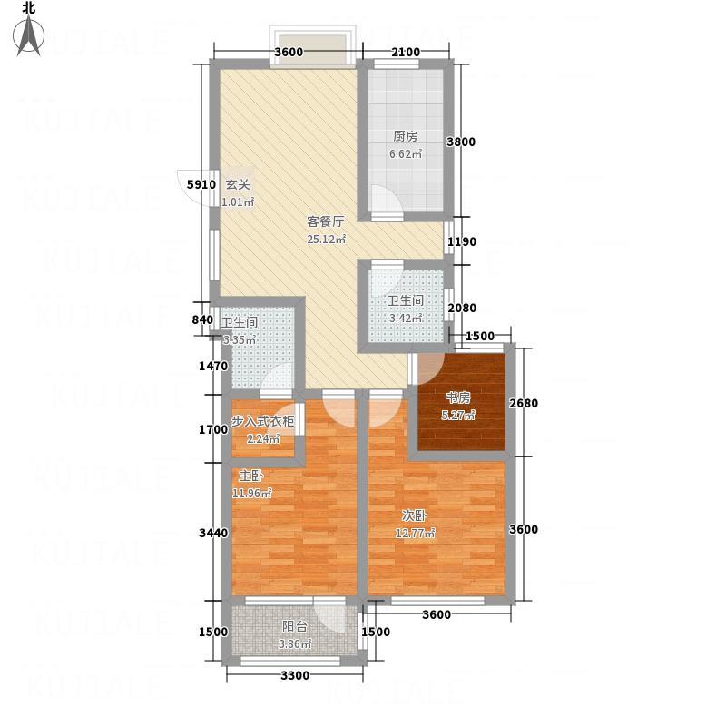 八里庄・盛世华园11.70㎡户型3室2厅2卫1厨