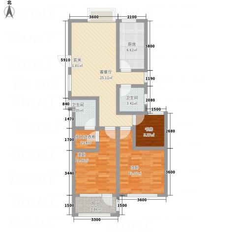 八里庄・盛世华园3室1厅2卫1厨74.60㎡户型图