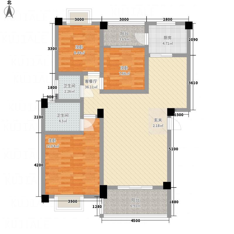 瑞地楠郡18.35㎡B户型3室2厅2卫1厨