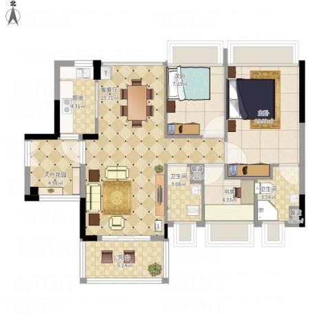 尚书悦府3室1厅2卫1厨104.00㎡户型图