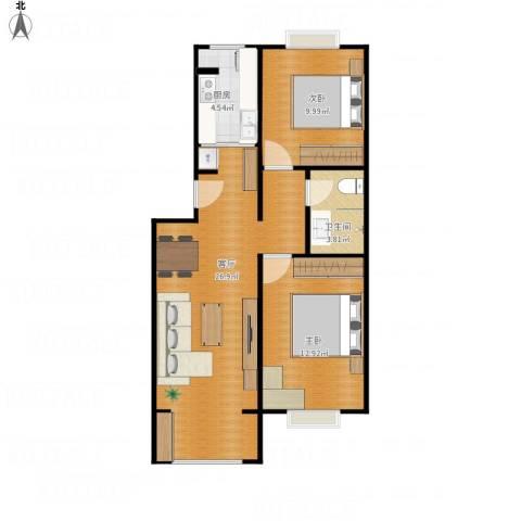 五棵松26号院2室1厅1卫1厨79.00㎡户型图