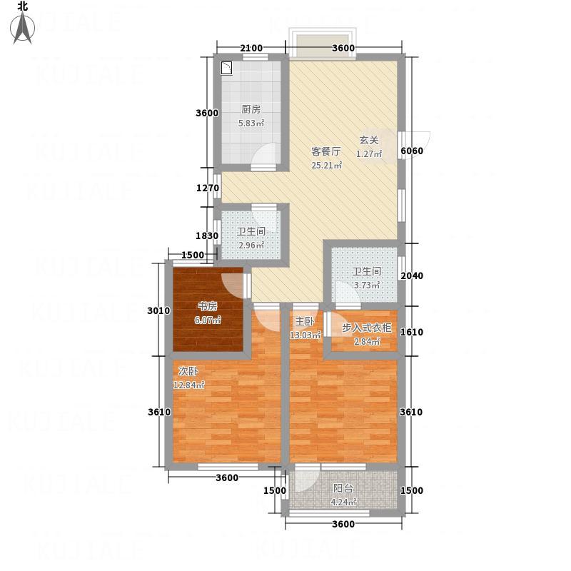 八里庄・盛世华园113.80㎡户型3室2厅2卫1厨