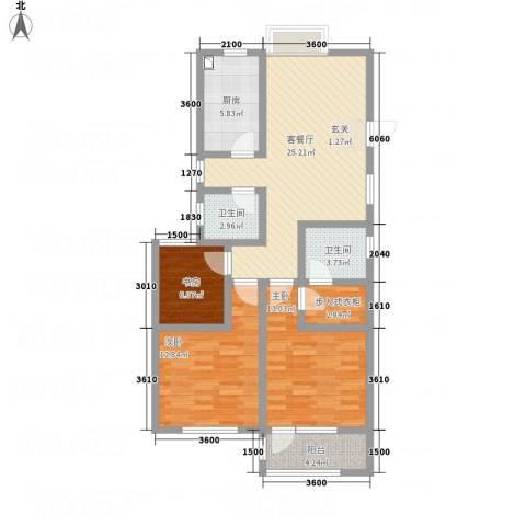 八里庄・盛世华园3室1厅2卫1厨114.00㎡户型图