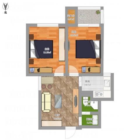 千岛湖茶苑小区小高层-中套2室2厅1卫1厨64.00㎡户型图