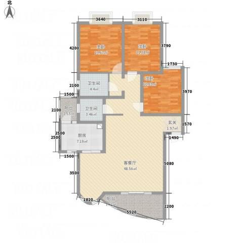 上河美地3室1厅2卫1厨125.00㎡户型图