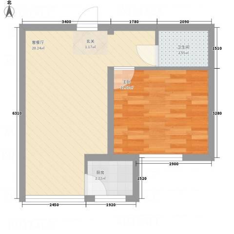 逸城・浅水湾1室1厅1卫1厨54.00㎡户型图