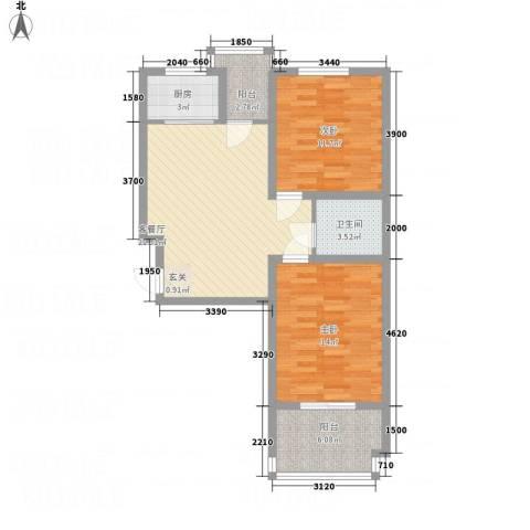 逸城・浅水湾2室1厅1卫1厨83.00㎡户型图
