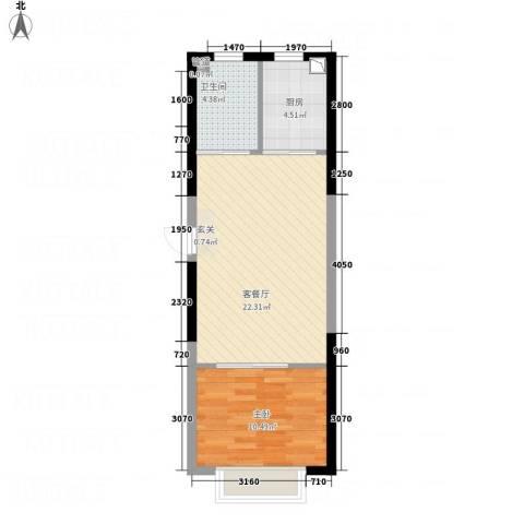 华纺・海岸城1室1厅1卫1厨58.00㎡户型图