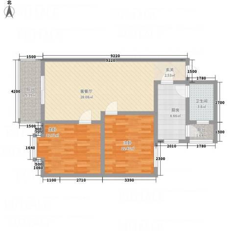 江畔首府2室1厅1卫1厨70.75㎡户型图