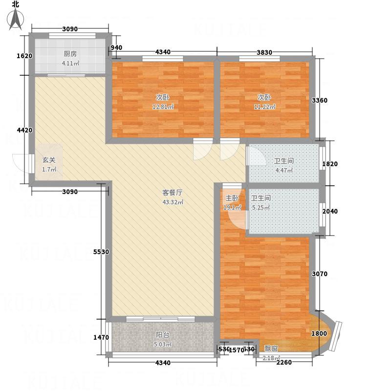 富景国际137.84㎡C户型3室2厅2卫1厨
