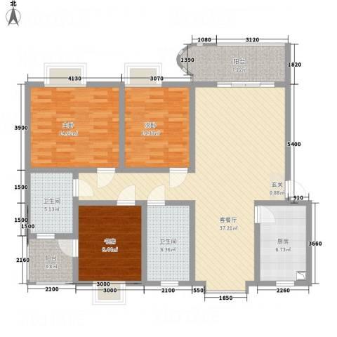 上河美地3室1厅2卫1厨122.00㎡户型图