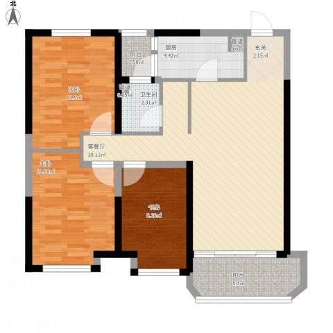 金地艺华年3室1厅3卫1厨106.00㎡户型图