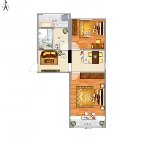大井北里2室3厅1卫1厨65.00㎡户型图