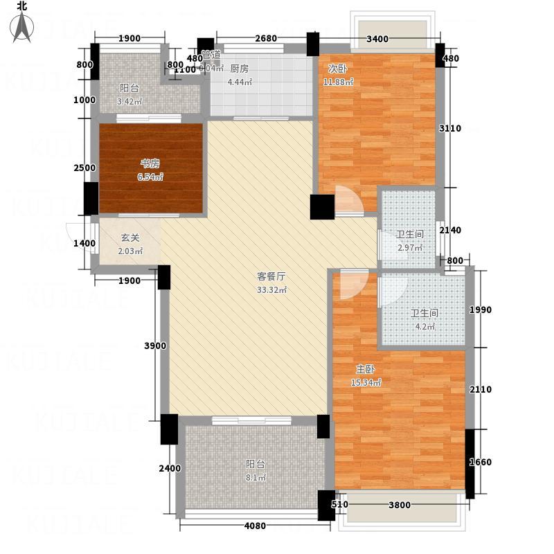 天泽锦绣江南118.31㎡A2户型3室2厅2卫1厨
