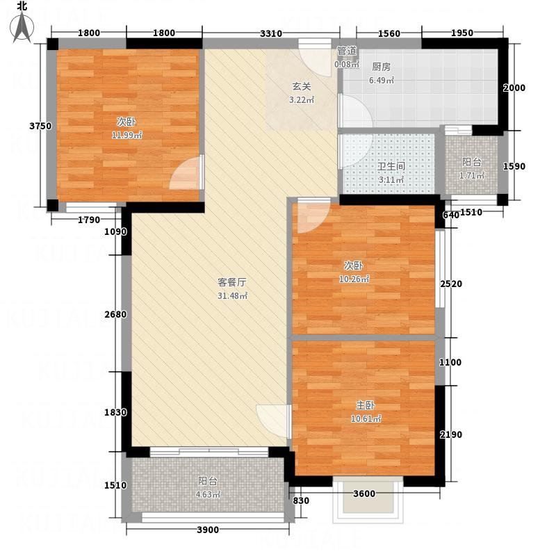 海上花园232111.13㎡B户型3室2厅1卫1厨