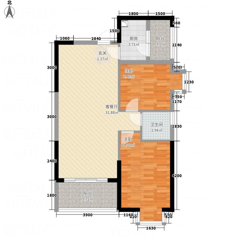 聚镇85.00㎡6#A梯02单元户型2室2厅1卫1厨