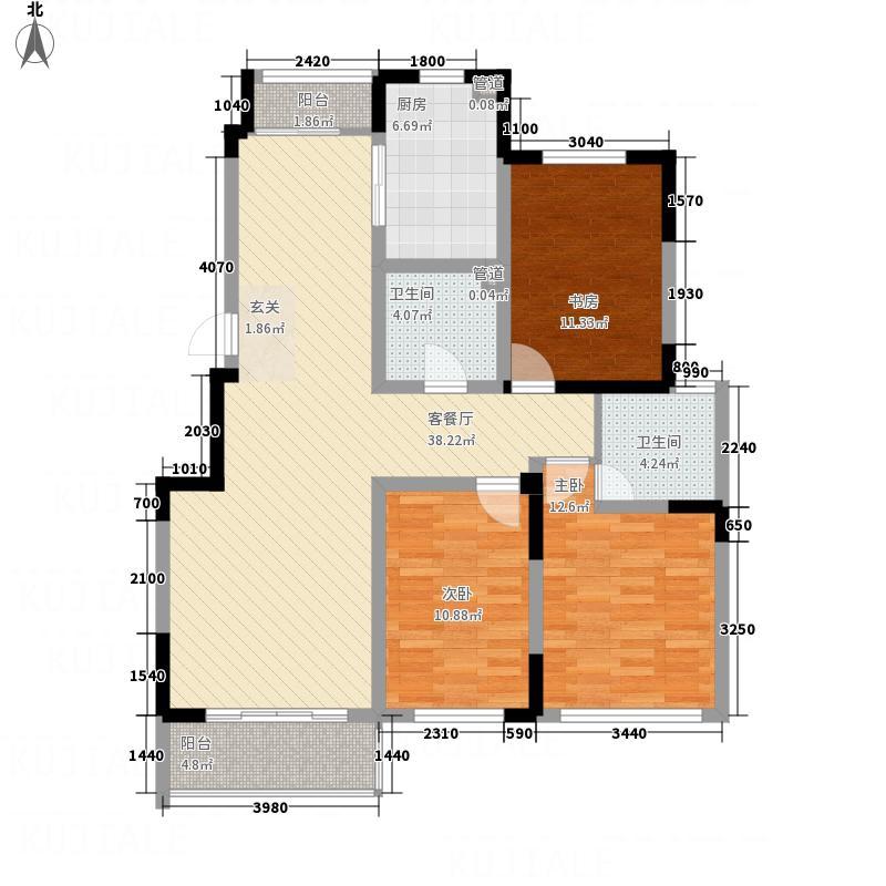 华都馨苑136.60㎡二期A户型3室2厅2卫1厨