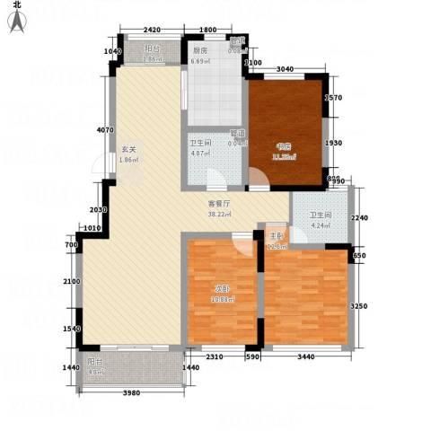 华都馨苑3室1厅2卫1厨137.00㎡户型图