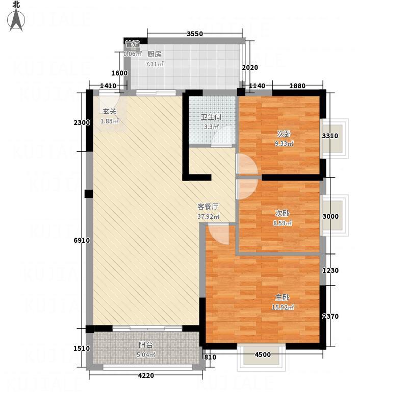 海上花园3321111.50㎡B户型3室2厅1卫1厨