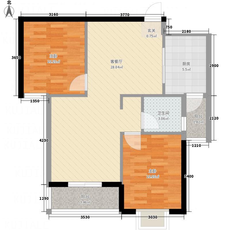 南海公馆88.00㎡C2户型2室2厅1卫1厨