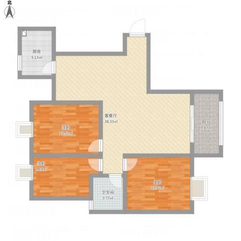 海韵嘉园3室1厅1卫1厨126.00㎡户型图