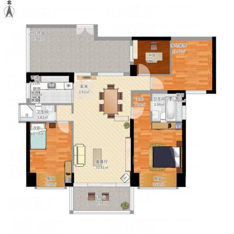 城建仁山智水花园3室1厅2卫1厨173.00㎡户型图