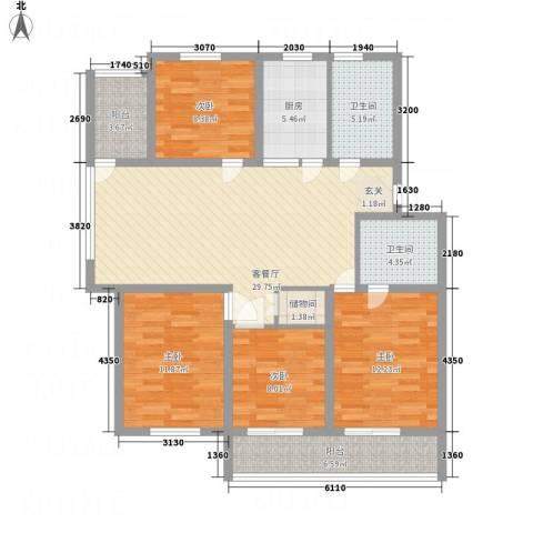 金东城雅居4室1厅2卫1厨96.88㎡户型图