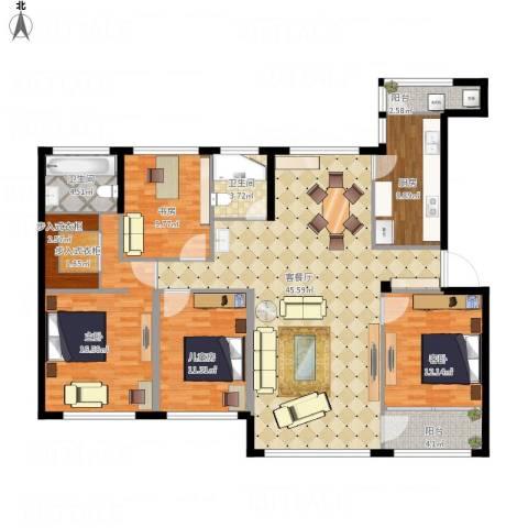 雅戈尔明洲4室1厅2卫1厨172.00㎡户型图