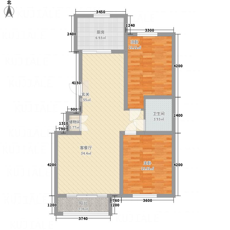 亿居新城果岭郡13.80㎡221-10398户型2室2厅1卫1厨