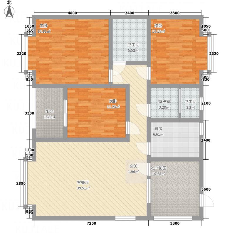 江畔首府C33-2-2户型3室2厅2卫1厨
