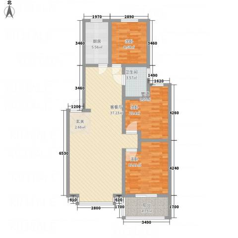 盛世华庭3室1厅1卫1厨118.00㎡户型图