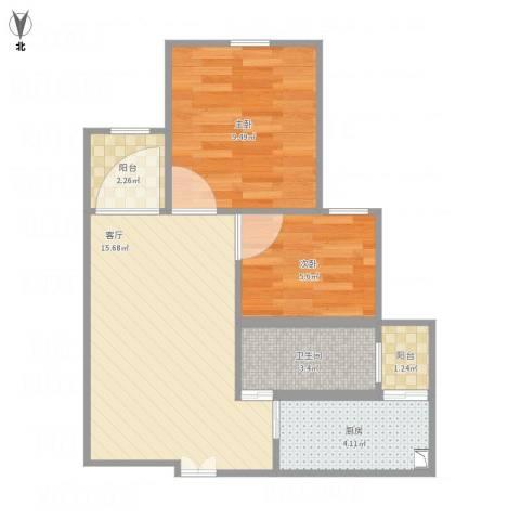 宝祁雅苑2室1厅1卫1厨58.00㎡户型图