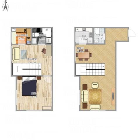 罗马假日1室1厅2卫1厨97.00㎡户型图