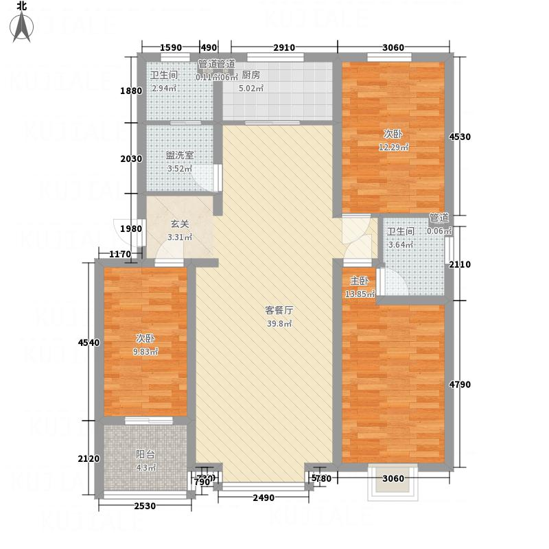 盛世华庭135.80㎡户型3室2厅2卫1厨