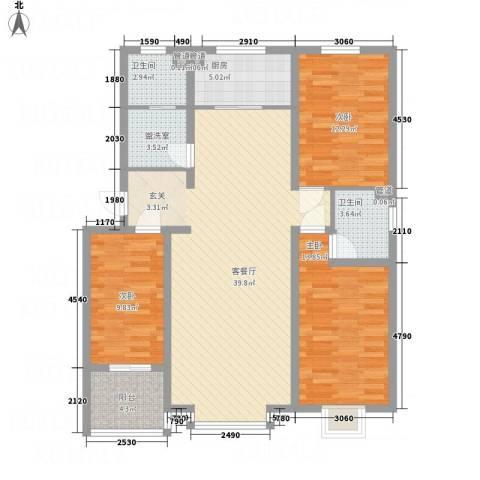 盛世华庭3室2厅2卫1厨136.00㎡户型图