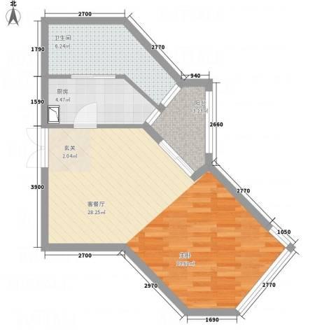 侨光苑1厅1卫1厨59.00㎡户型图