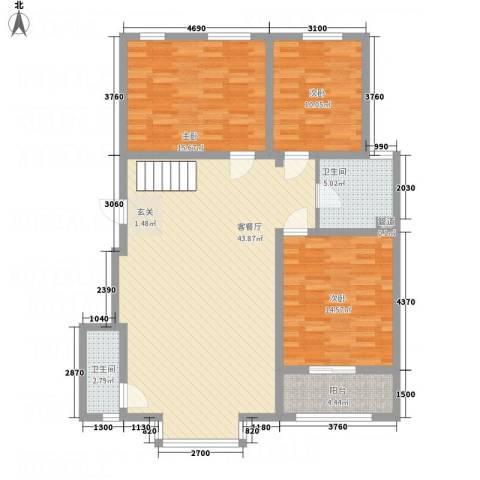 盛世华庭3室1厅2卫0厨136.00㎡户型图