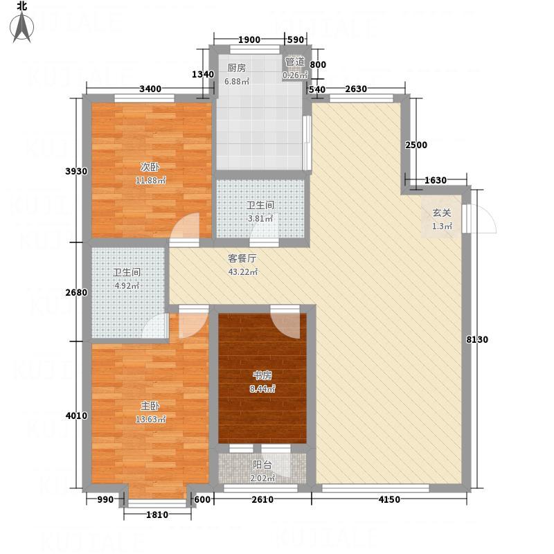 宏运・凤凰新城二期12.77㎡中高层C户型3室2厅2卫1厨
