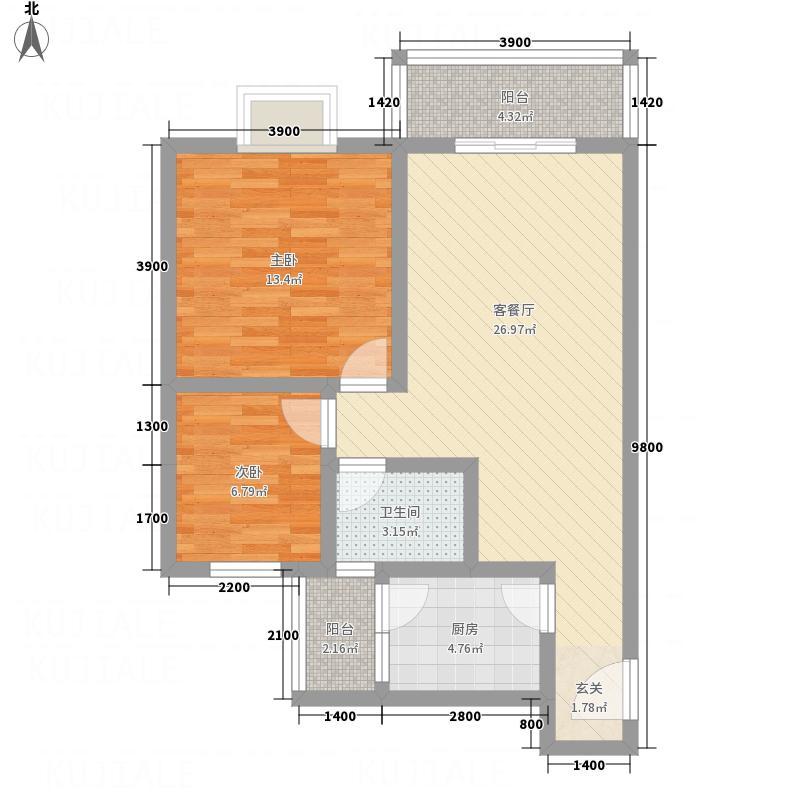 科大花园75.20㎡K2户型2室2厅1卫1厨