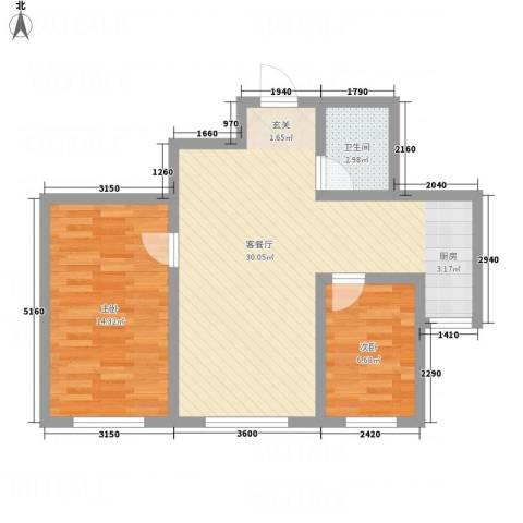 金河湾2室1厅1卫0厨83.00㎡户型图